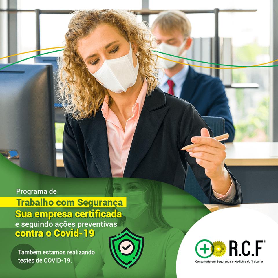 Programa de trabalho com segurança. Sua empresa certificda e seguindo ações preventivas contra o covid-19.