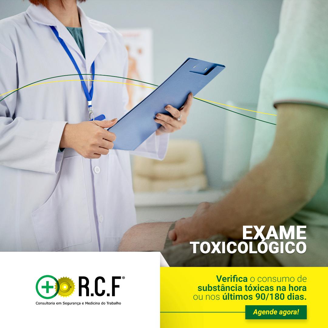Exame Toxicológico: Verifica o consumo de substâncias toxicas na hora ou nos últimos 90/180 dias.